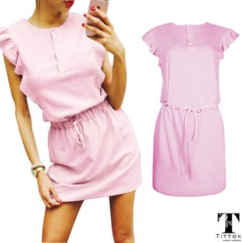 2017 new arrivals casual pink short Butterfly Sleeves summer mini dress ladies clothes dress casual youth pink dress