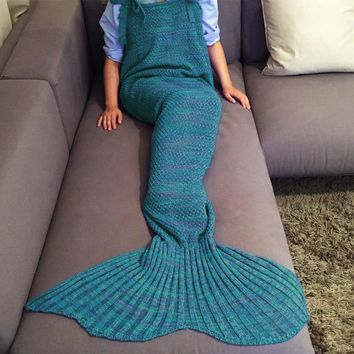 Exquisite Drawstring Style Knitted Mermaid Design Sleeping Bag Blanket
