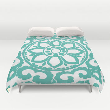 Art Deco Medallion Modern Duvet Cover - Black and White - Queen Size Duvet Cover - King Size Duvet Cover