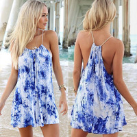 Blue Tie Dye Printed Beach Dress
