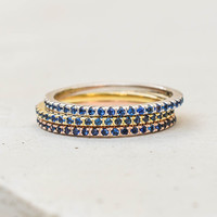 Eternity Ring Set - Multi with Sapphire Blue