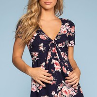 What's Bloomin' Tie-Front Floral Romper - Navy