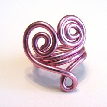 Swirly Heart Wire Ring with Loop Custom Made by refreshingdesigns