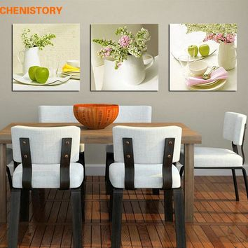 Unframed 3pcs Fruit And Fl Wall Art Picture Canvas Print Pai
