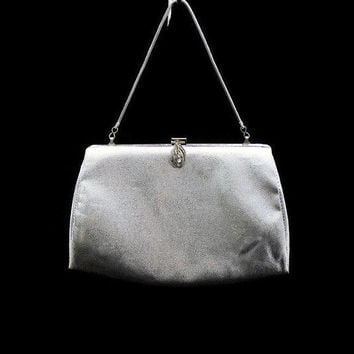 1960's Silver Handbag Clutch, Bridal Accessory