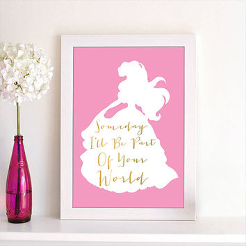 Disney Princess Ariel Someday I'll Be Part Of Your World Quote Silhouette Children Room Baby Nursery Room Home Decor Art Poster Print