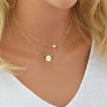 Tiny Freshwater Pearl Necklace, Delicate Layered Necklace, Personalized Disc, Single Pearl Necklace, Dainty Gold Chain