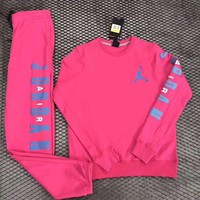 PEAPNQ2 Nike Air Jordan Woman Men Fashion Round Neck Top Sweater Pullover Pants Trousers Set Two-Piece-1