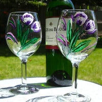 Painted Wine Glasses with Purple Flowers