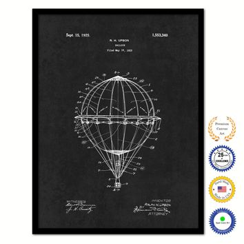 1925 Hot Air Balloon Vintage Patent Artwork Black Framed Canvas Home Office Decor Great Gift for Hot Air Balloon Lover