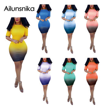 Ailunsnika 2017 Summer Women Sexy Fashion Casual 7 Color O Neck Half Sleeve Party Night Club Bodycon Slim Mini Dress MS486-0