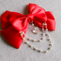 Lolita Hair clip or Brooch red bow with glass heart and white pearl beads