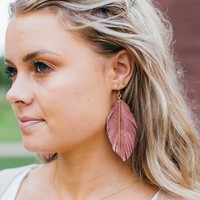 Leather Feather Earrings- Pink