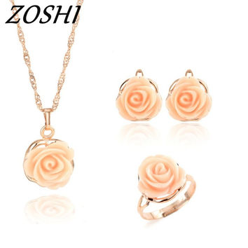 ZOSHI New Arrival African Costume Jewelry Sets Fashion Wedding Women Bridal Accessories Adjuatable Ring Earring Necklace Set