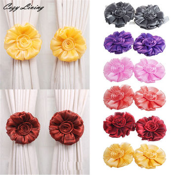 Curtain Clip 1 Pair Rose Flower Window Curtain Tieback Buckle Clamp Hook Fastener Decor Elegent Curtain Buckle Strap D5