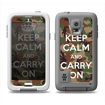 The Keep Calm & Carry On Camouflage Samsung Galaxy S5 LifeProof Fre Case Skin Set