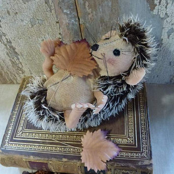 Hazel Hedgehog: vintage style, soft sculpture animal, artist bear. Heirloom gift, baby room or child's room, or for the child in you!