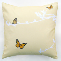 Butterfly and Branches Pale Gold Cherry Tree Pillow Cover 16 inch, Decorative Throw Pillow Cover, Cushion Cover, Sham