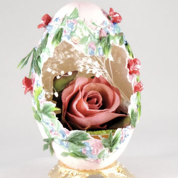 Red Rose in Stylized Heart Cut Out Realistic Red Silk Rose Ornament Home Decor Egg Ornament Faberge Style Decorated Egg Art