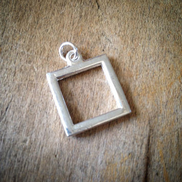 SILVER Miniature SQUARE Picture Frame Pendant -  Mini Charm Frames Jewelry Supplies (BC053)