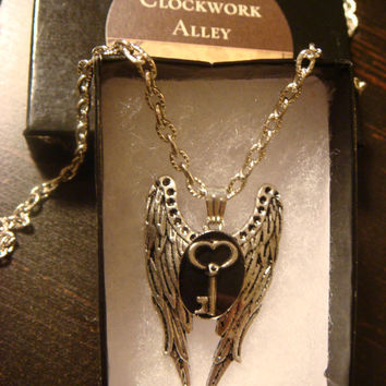 Tiny Skeleton Key Angel Wing Necklace in Antique Silver  (1206)