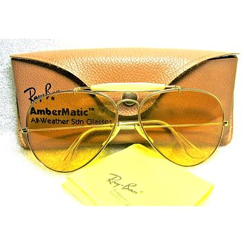 Ray-Ban USA Vintage 1970s B&L Aviator *Ambermatic Outdoorsman *NrMint Sunglasses