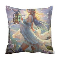 Young Fairy with baby Dragon. Pillow