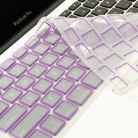 TopCase Silicone Keyboard Cover Skin for Macbook Unibody Whtie 13-Inch / Macbook Pro Aluminum Unibody 13, 15, 17-Inch with or without Retina Display / Macbook Air 13-Inch / Old Macbook White 13-Inch / Wireless Keyboard with TopCase Mouse Pad (PURPLE)