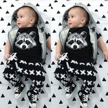 Retail 2017 Summer Style Infant Clothes Baby Clothing Sets Boys Cotton Little Monsters Short Sleeve 2pcs Baby Boy Clothes