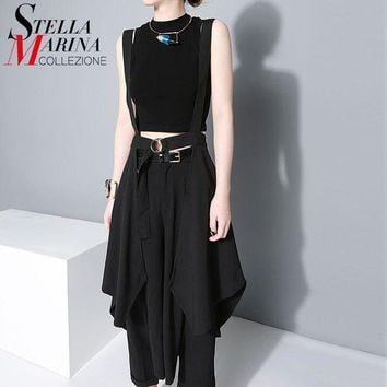 2016 New Women European Fashion Black Maxi Skirt High Waist Suspender Straps Ruffles Chiffon Skirts Female Sun Skirt Femme 1431