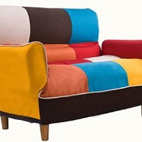 Merax Adjustable Sofa and Loveseat in Colorful Line Fabric Home Furniture Fold Down Futon Sofa Couch (Colorful)
