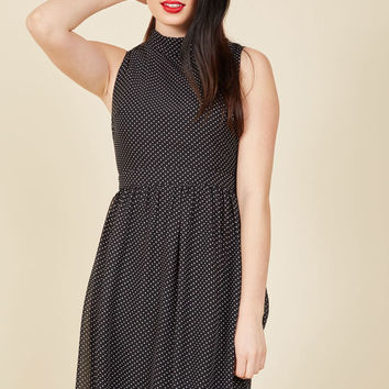 Rule the Whirl A-Line Dress in Noir in L
