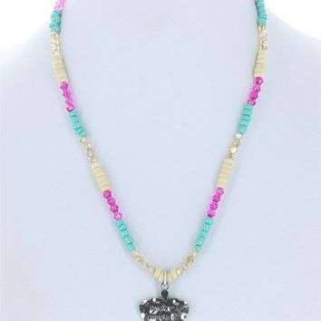 Girls Hammered Crown Mommy's  Princess Necklace