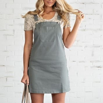 It's All Good Overall Dress : Grey