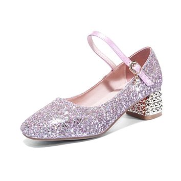 Mary Janes Buckle Shallow Toe Sequined Women Pumps Mid Heeled Shoes