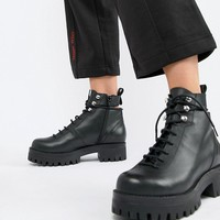 ASOS DESIGN Premium Rivalry leather chunky lace up ankle boots at asos.com