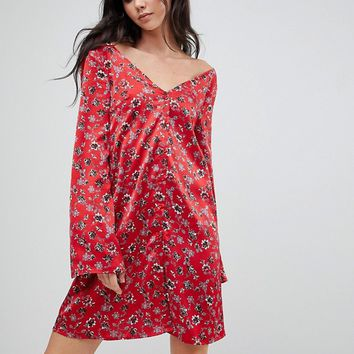 Glamorous Tall Long Sleeve Tea Dress With Button Front In Vintage Floral at asos.com