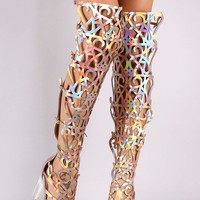 Holographic Caged Cutout Gladiator Heel