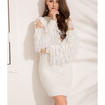 Women Dresses  Mesh Patchwork Knitted Sweater Dress Casual Bodycon Tassel Sexy