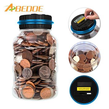 ABEDOE Large Digital Coin Counting Money Saving Box Jar Bank LCD Display Coins Box Piggy Bank Safe for Euro Pound and Dollar
