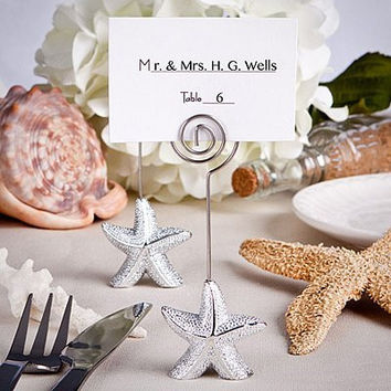 shimmering starfish design place card holder table number holde