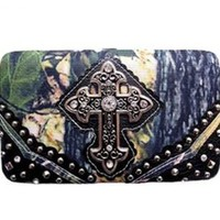 Rhinestone Cross Canvas Camo Flat Wallet Clutch Purse (black)