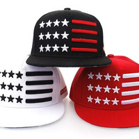 New Fashion Five-pointed Star Bar Embroidery Hip Hop Baseball Caps Punk Street Cap 3 Color (Black,Red,White) = 1919629124