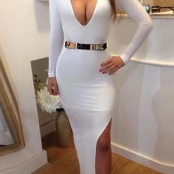 White Plunging Neckline Side Slit Bodycon Maxi Dress