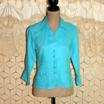 Turquoise blue linen blouse button up from magpie otis for Linen button up shirt womens