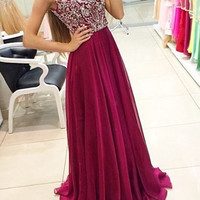 Custom Made A Line Round Neck Long Prom Dresses, Long Formal Dresses, Party Dresses