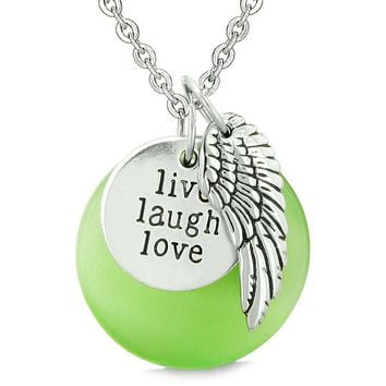 Guardian Angel Wing Live Laugh Love Inspirational Magic Amulet Green Simulated Cats Eye Necklace