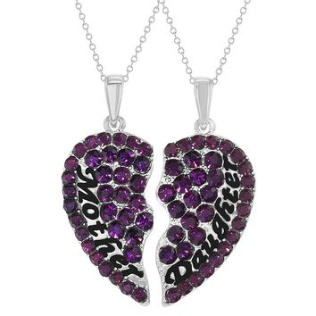 Rhodium Plated Purple Mother Daughter Necklace Pendant Hearts 19""