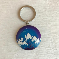 Snowy Mountains Locket Keychain, modern mountain outdoors hiking climbing skiing accessory photo unisex gift blue colorful winter