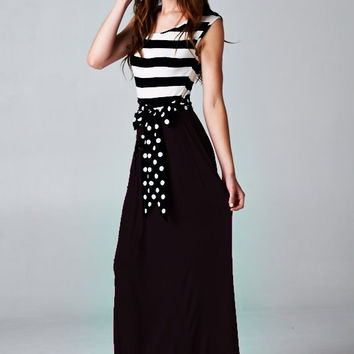 Stripe with Polka Dots Maxi: Black